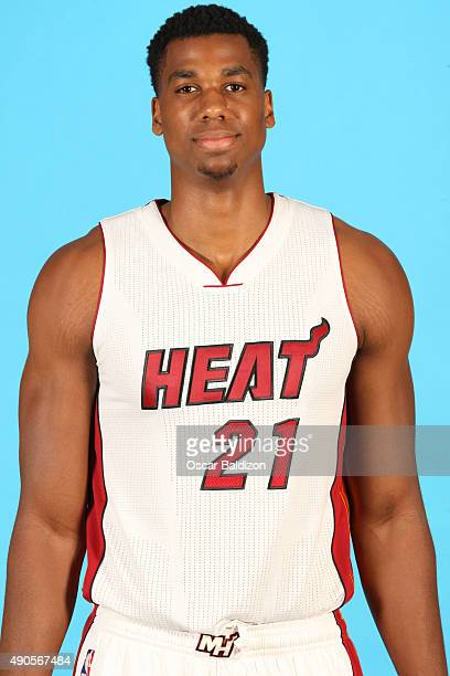 Hassan Whiteside of the Miami Heat poses for a portrait during the 2015 Media Day on September 28 2015 at the American Airlines Arena in Miami...