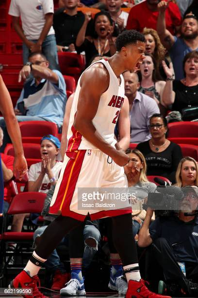 Hassan Whiteside of the Miami Heat reacts during the game against the New York Knicks on March 31 2017 at AmericanAirlines Arena in Miami Florida...