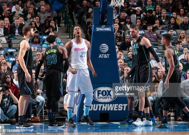 Hassan Whiteside of the Miami Heat reacts during the game against the Dallas Mavericks on January 29 2018 at the American Airlines Center in Dallas...