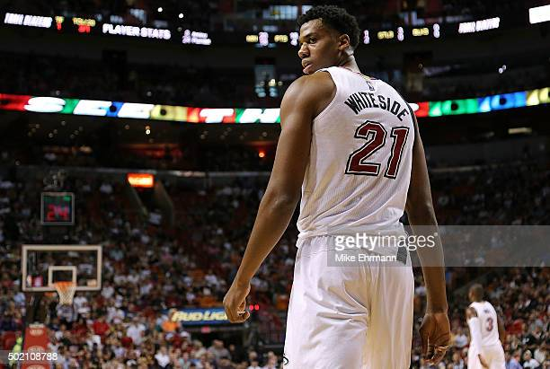 Hassan Whiteside of the Miami Heat reacts to a dunk during a game against the Portland Trail Blazers at American Airlines Arena on December 20 2015...