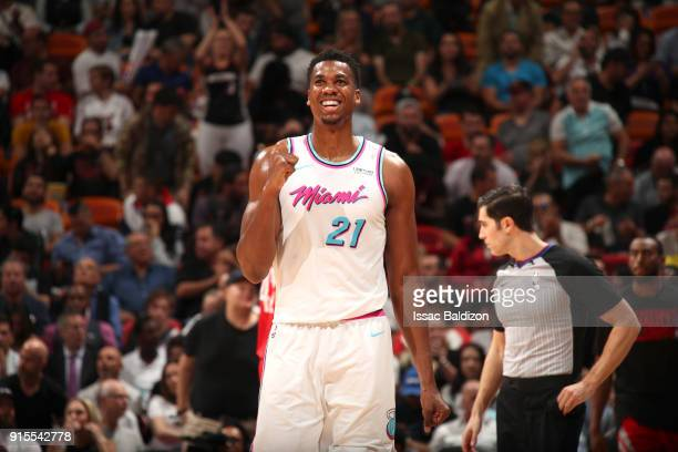 Hassan Whiteside of the Miami Heat reacts to a play during the game against the Houston Rockets on February 7 2018 at American Airlines Arena in...