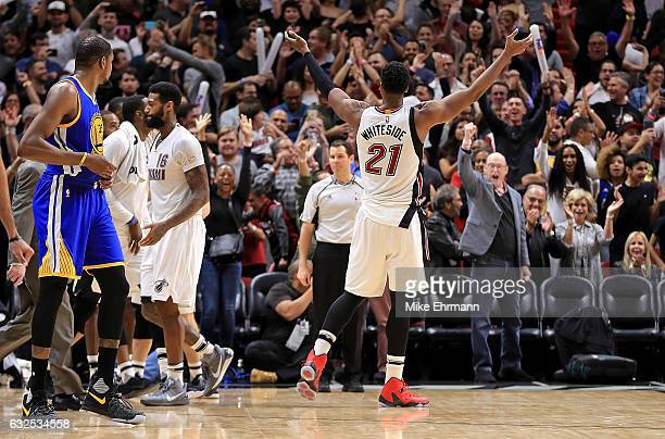 Hassan Whiteside of the Miami Heat reacts to winning a game against the Golden State Warriors at American Airlines Arena on January 23 2017 in Miami...