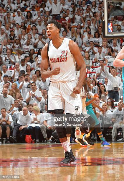 Hassan Whiteside of the Miami Heat runs up court against the Charlotte Hornets during the Eastern Conference playoffs First Round Game Two on April...