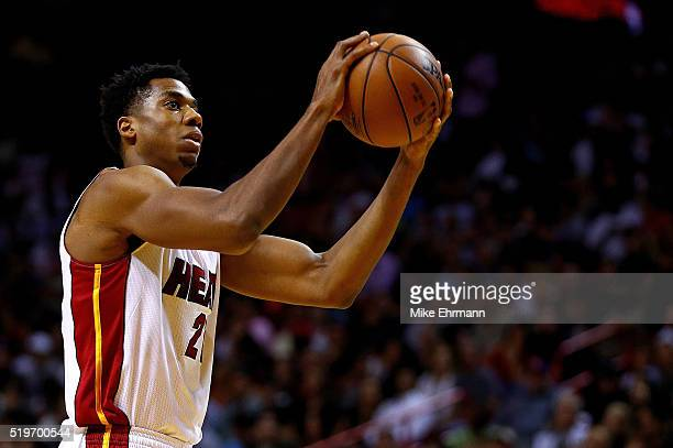 Hassan Whiteside of the Miami Heat shoots a foul shot during a game against the Chicago Bulls at American Airlines Arena on April 7 2016 in Miami...
