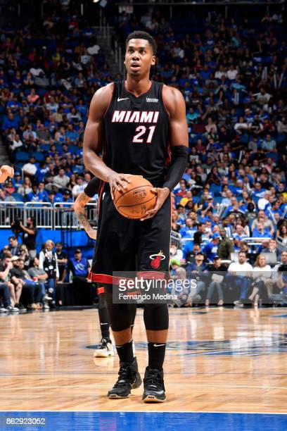 Hassan Whiteside of the Miami Heat shoots a free throw during the game against the Orlando Magic on October 18 2017 at Amway Center in Orlando...