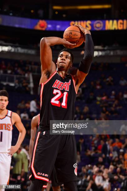 Hassan Whiteside of the Miami Heat shoots a free throw during the game against the Phoenix Suns on November 8 2017 at Talking Stick Resort Arena in...