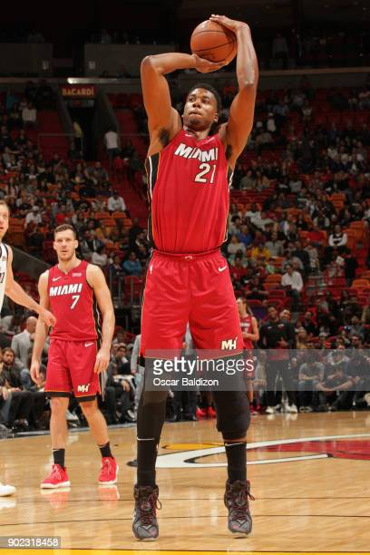Hassan Whiteside of the Miami Heat shoots a free throw during the game against the Utah Jazz on January 7 2017 at American Airlines Arena in Miami...