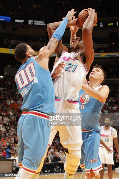 Hassan Whiteside of the Miami Heat shoots the ball against Bogdan Bogdanovic of the Sacramento Kings on January 25 2018 at American Airlines Arena in...