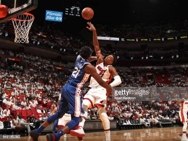 Hassan Whiteside of the Miami Heat shoots the ball against the Philadelphia 76ers in Game Three of Round One of the 2018 NBA Playoffs on April 19...