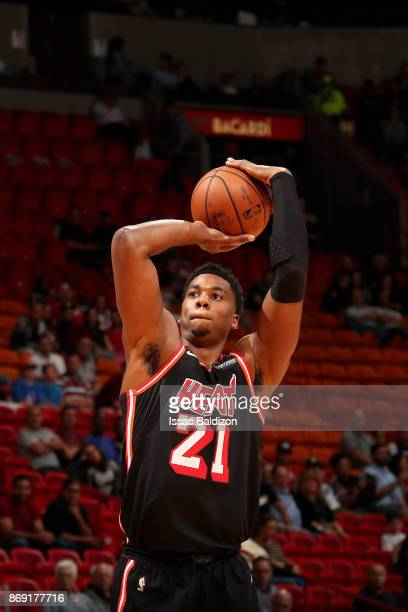 Hassan Whiteside of the Miami Heat shoots the ball against the Chicago Bulls on November 1 2017 at American Airlines Arena in Miami Florida NOTE TO...