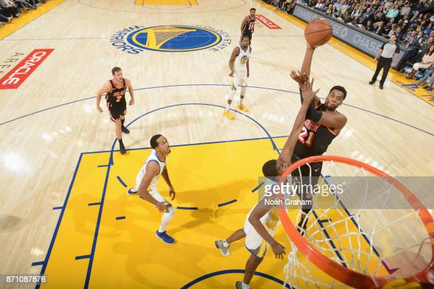 Hassan Whiteside of the Miami Heat shoots the ball against the Golden State Warriors on November 6 2017 at ORACLE Arena in Oakland California NOTE TO...