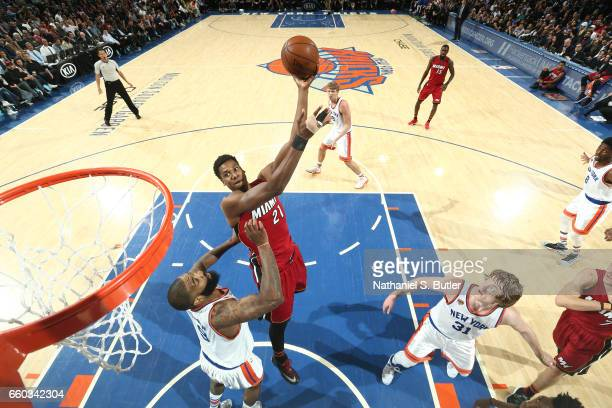 Hassan Whiteside of the Miami Heat shoots the ball against the New York Knicks on March 29 2017 at Madison Square Garden in New York City New York...