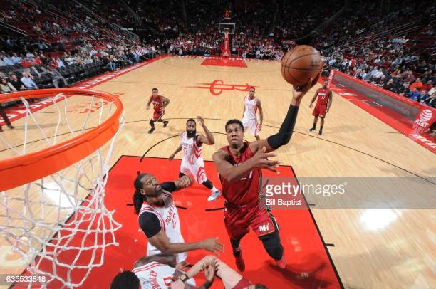 Hassan Whiteside of the Miami Heat shoots the ball against the Houston Rockets on February 15 2017 at the Toyota Center in Houston Texas NOTE TO USER...