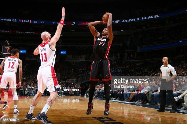 Hassan Whiteside of the Miami Heat shoots the ball against the Washington Wizards on April 8 2017 at Verizon Center in Washington DC NOTE TO USER...