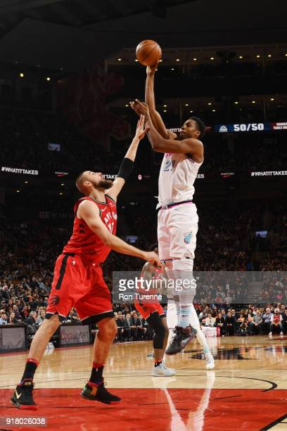 Hassan Whiteside of the Miami Heat shoots the ball against the Toronto Raptors on February 13 2018 at the Air Canada Centre in Toronto Ontario Canada...