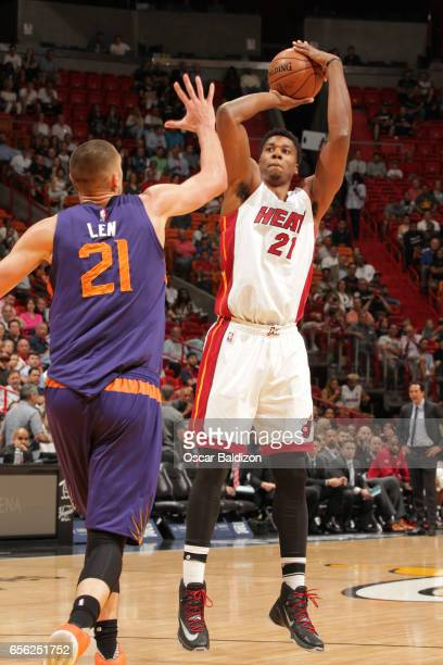 Hassan Whiteside of the Miami Heat shoots the ball against the Phoenix Suns on March 21 2017 at American Airlines Arena in Miami Florida NOTE TO USER...