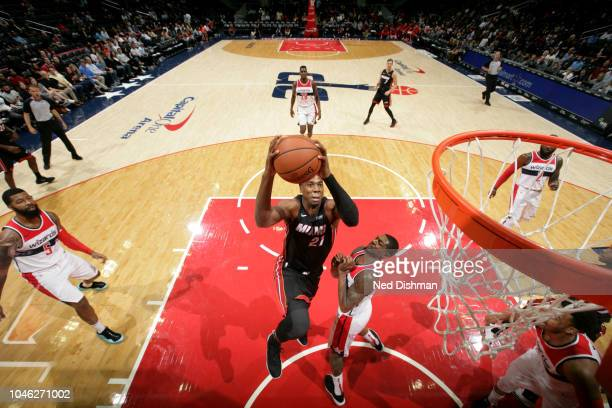 Hassan Whiteside of the Miami Heat shoots the ball against Washington Wizards during a preseason game on October 5 2018 at Capital One Arena in...