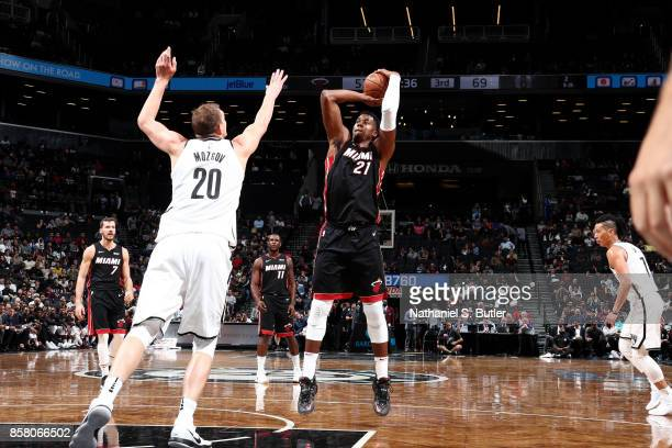 Hassan Whiteside of the Miami Heat shoots the ball during the game against the Brooklyn Nets during a preseason game on October 5 2017 at Barclays...