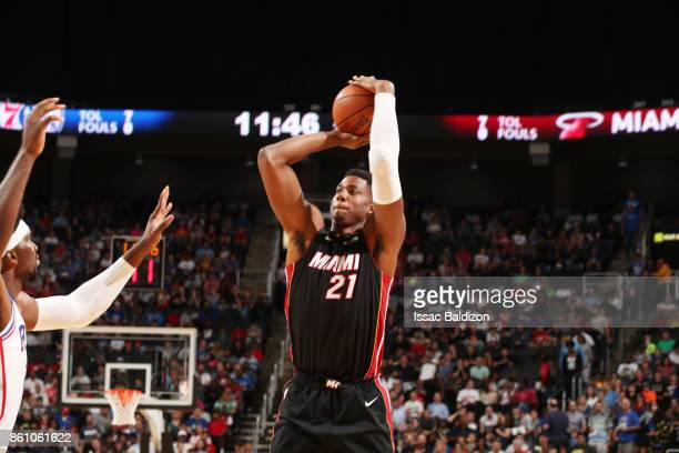 Hassan Whiteside of the Miami Heat shoots the ball during the preseason game against the Philadelphia 76ers on October 13 2017 at Sprint Center in...
