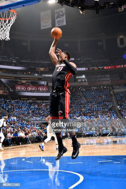 Hassan Whiteside of the Miami Heat shoots the ball during the game against the Orlando Magic on October 18 2017 at Amway Center in Orlando Florida...