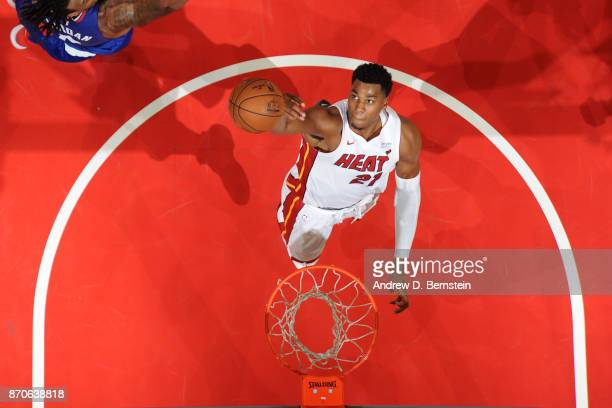 Hassan Whiteside of the Miami Heat shoots the ball during the game against the LA Clippers on November 5 2017 at STAPLES Center in Los Angeles...