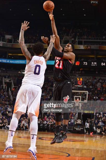 Hassan Whiteside of the Miami Heat shoots the ball during the game against the Phoenix Suns on November 8 2017 at Talking Stick Resort Arena in...