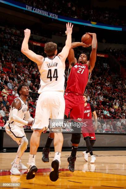 Hassan Whiteside of the Miami Heat shoots the ball during the game against the Brooklyn Nets at the American Airlines Arena on December 29 2017 in...