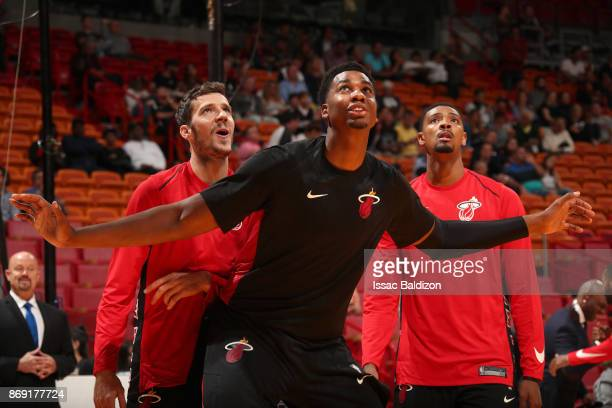 Hassan Whiteside of the Miami Heat warms up before the game against the Chicago Bulls on November 1 2017 at American Airlines Arena in Miami Florida...