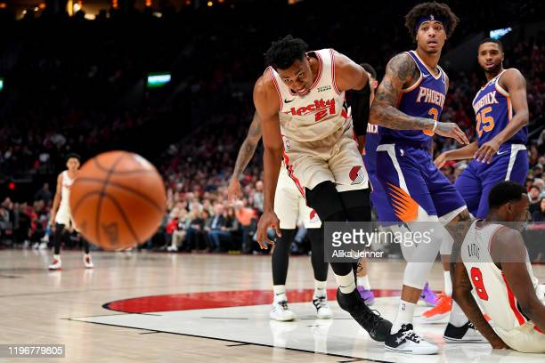 Hassan Whiteside of the Portland Trail Blazers chases down the ball during the second half of the game against the Phoenix Suns at the Moda Center on...