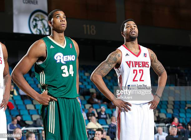 Hassan Whiteside of the Reno Big Horns and Marcus Morris of the Rio Grande Valley Vipers watch a free throw shot both are on assignment from their...