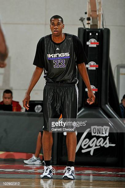 Hassan Whiteside of the Sacramento Kings waits down court during the game against the Minnesota Timberwolves at NBA Summer League on July 14 2010 at...