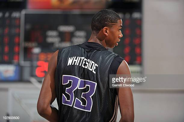 Hassan Whiteside of the Sacramento Kings waits for play to resume during the game against the Minnesota Timberwolves at NBA Summer League on July 14...
