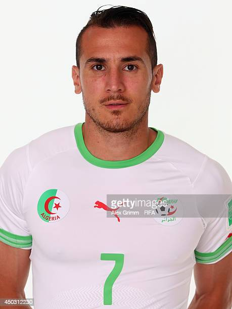 Hassan Yebda of Algeria poses during the official FIFA World Cup 2014 portrait session on June 8 2014 in Sao Paulo Brazil