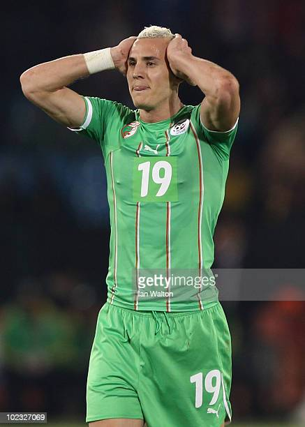 Hassan Yebda of Algeria reacts during the 2010 FIFA World Cup South Africa Group C match between USA and Algeria at the Loftus Versfeld Stadium on...