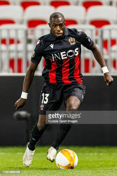 Hassane Kamara of OGC Nice runs with the ball during the UEFA Europa League Group C stage match between OGC Nice and Hapoel Be'er Sheva at Allianz...