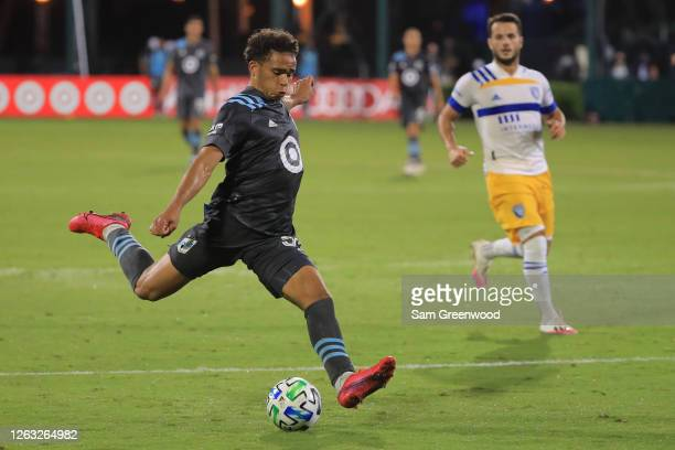 Hassani Dotson of Minnesota takes a shot on goal during a quarter final match of MLS Is Back Tournament between San Jose Earthquakes and Minnesota...
