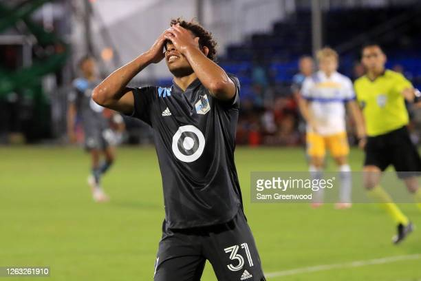 Hassani Dotson of Minnesota United reacts after missing a chance of goal during a quarter final match of MLS Is Back Tournament between San Jose...