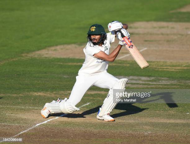 Hasseeb Hameed of Nottinghamshire bats during the LV= Insurance County Championship match at Trent Bridge on September 23, 2021 in Nottingham,...