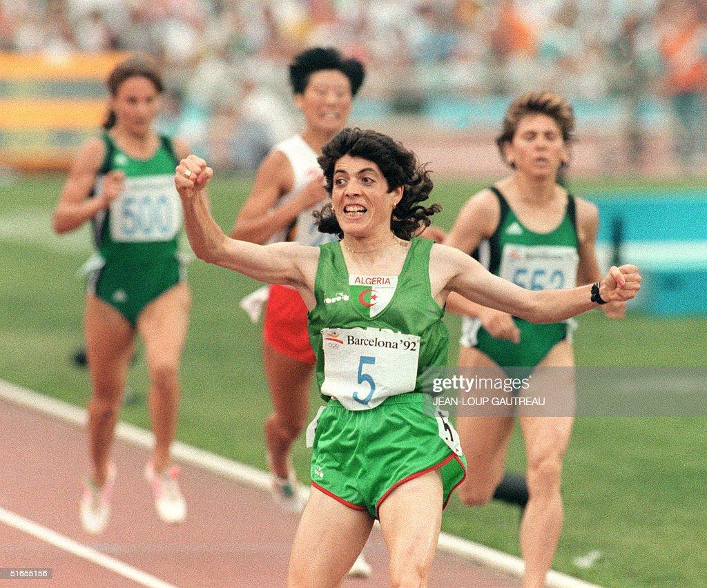Hassiba Boulmerka from Algeria, jubilates after cr : News Photo