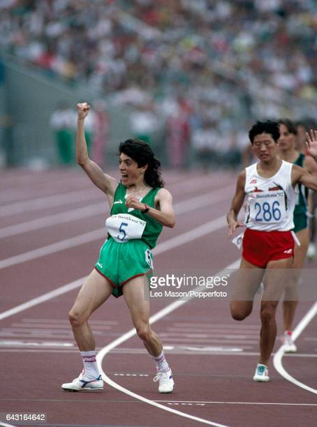 Hassiba Boulmerka of Algeria celebrates after winning the women's 1500 metres event during the Summer Olympic Games in Barcelona on 8th August 1992