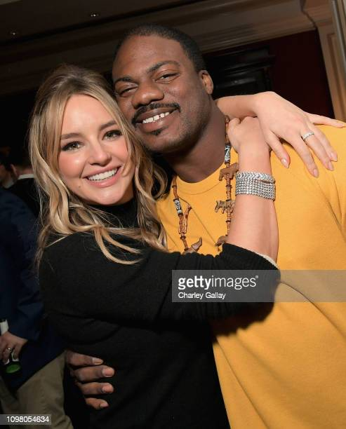 Hassie Harrison and Marcus Henderson attend the truTV Happy Hour at The Langham Huntington Hotel and Spa on February 11 2019 in Pasadena California...