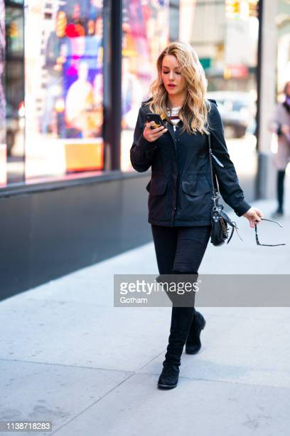 Hassie Harrison is seen in Midtown on March 27 2019 in New York City
