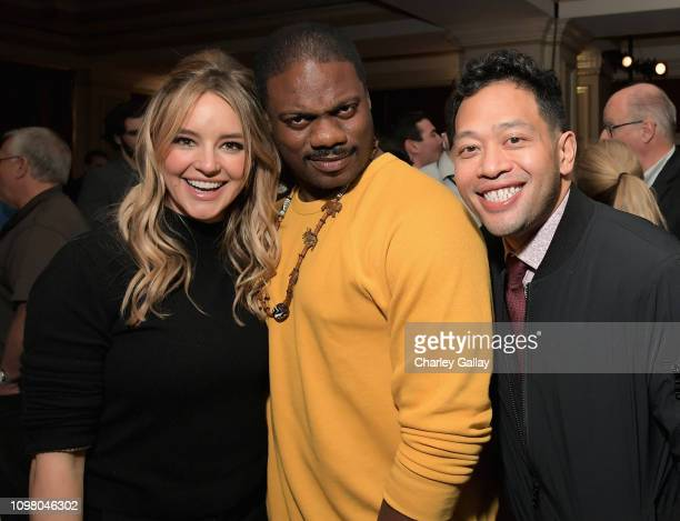 Hassie Harrison Marcus Henderson and Eugene Cordero attend the truTV Happy Hour at The Langham Huntington Hotel and Spa on February 11 2019 in...