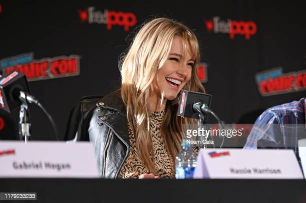 Hassie Harrison speaks onstage at the Tacoma FD panel during New York Comic Con 2019 at Jacob Javits Center on October 05 2019 in New York City
