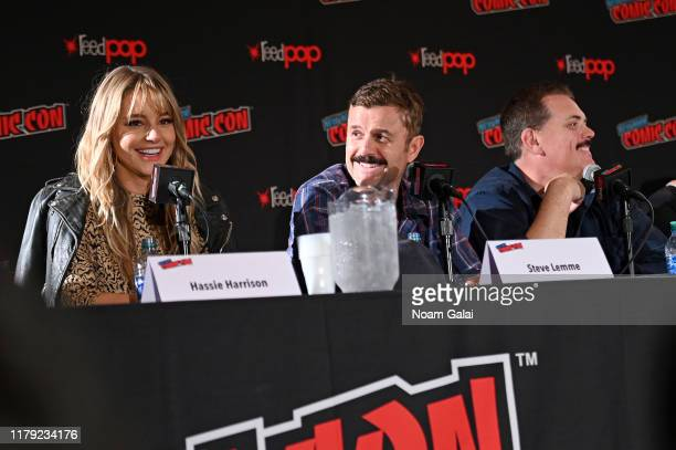 Hassie Harrison Steve Lemme and Kevin Heffernan speak onstage at the Tacoma FD panel during New York Comic Con 2019 at Jacob Javits Center on October...