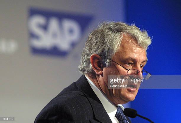 Hasso Plattner Chairman and CEO of SAP AG Germanys largest software producer speaks at the companys annual press conference January 23 2002 in...