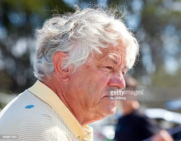 Hasso Plattner cofounder and chairman of the supervisory board of SAP AG speaks before racing in his 505 sailboat in San Francisco California US on...