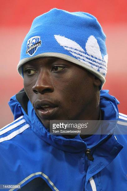 Hassoun Camara of the Montreal Impact warms up before playing against the Toronto FC in the finals of the Amway Canadian Championship on May 9 2012...