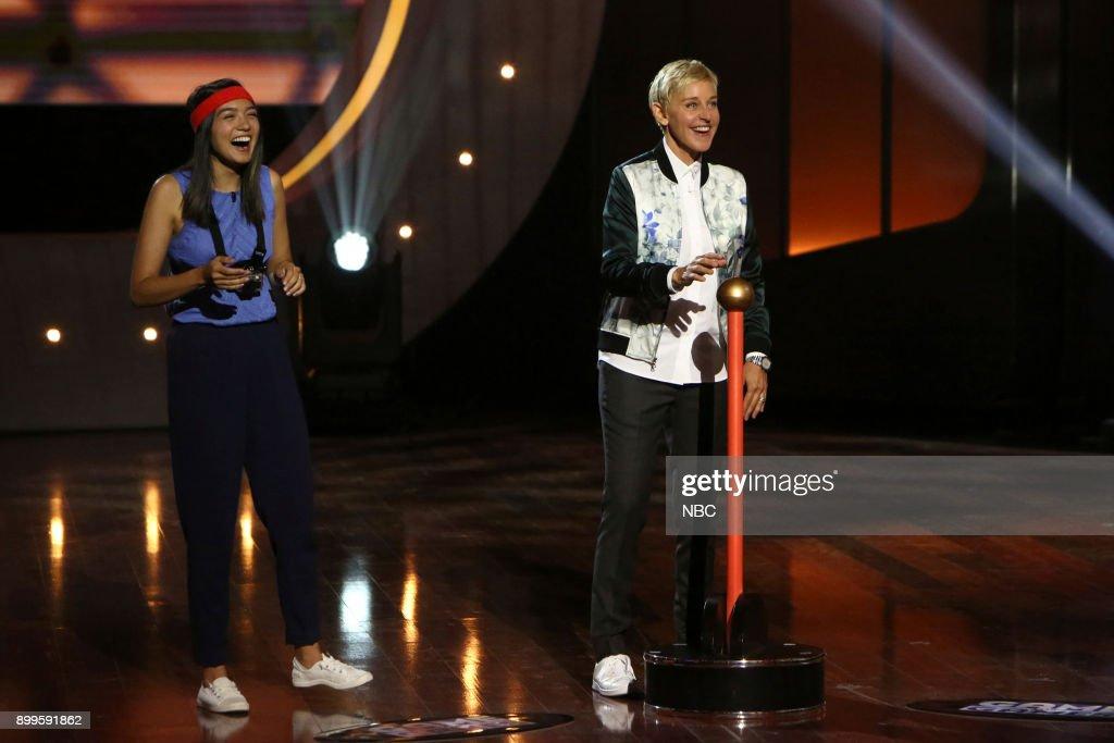 S GAME OF GAMES -- 'Hasta La Vista, Honey' Episode 105 -- Pictured: (l-r) Rachel Marsh, Ellen DeGeneres --