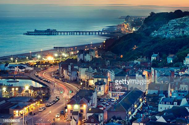 hastings at sunset - hastings stock photos and pictures